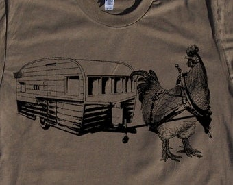 Mens urban chicken with trailer-  american apparel army- available in S, M, L, XL, XXL- WorldWide Shipping