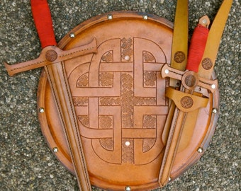 COMPLETE Set - Sword, Dagger, Sword Belt, & Shield w/ Celtic Knot Emblem - Handmade Leather
