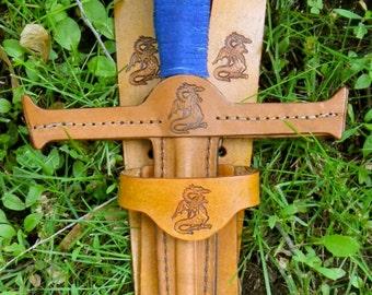 SWORD & sword BELT Set w/ Dragon Emblem - Handmade Leather