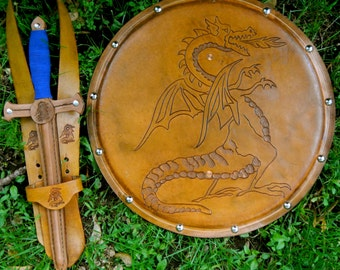 DAGGER Set - Dagger, Shield, & sword Belt w/ Dragon Emblem - Handmade Leather
