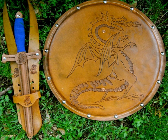 DAGGER Set - Dagger, Shield, & sword Belt w/ Dragon Emblem - Handmade Leather