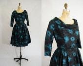 Vintage 1950s Dress / Teal and Black / Mad Men Dress / Silk / Long Sleeves