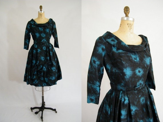 Vintage 1950s Dress / Teal and Black / Mad Men Dress / Silk / Long Sleeves / Small