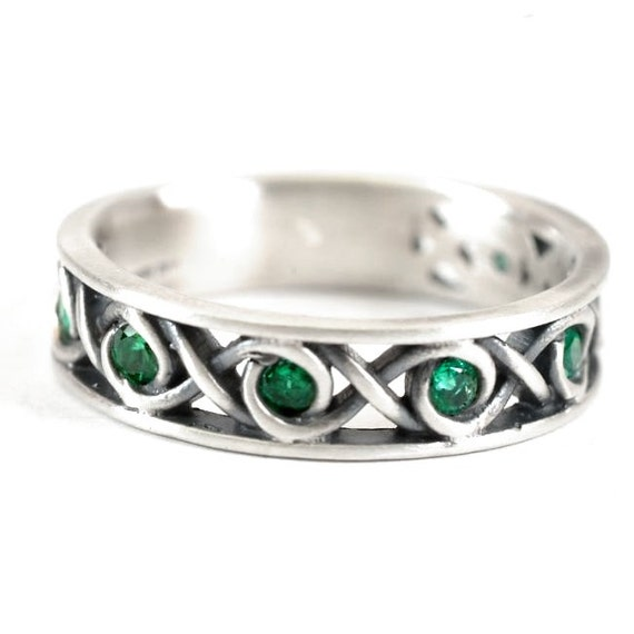 sterling celtic ring green emerald stones with infinity knot