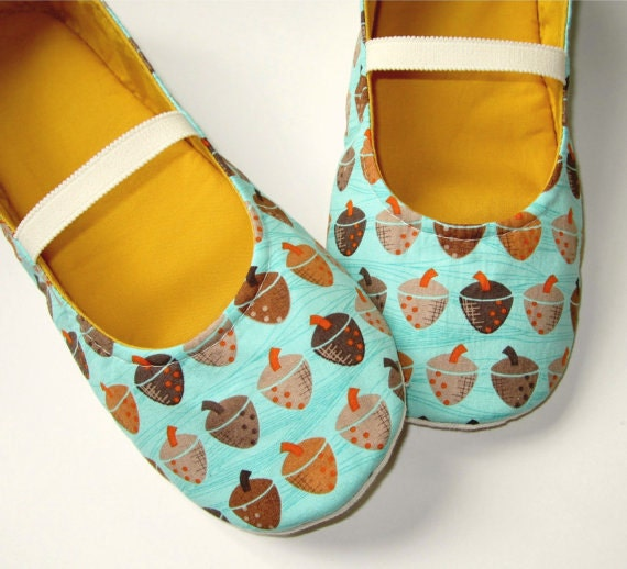 Handmade Women's Cloth Slippers - Teal, Brown, Orange, and Curry Cotton Acorn Moli-Janes // Sizes 5-11