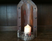 Vintage French Wooden Rustic Candleholder Wall Mounted circa 1960's  / English Shop