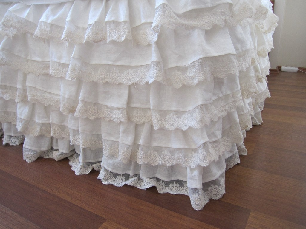 linen bed skirt Ivory lace waterfall ruffled bedding-bedskirt Ruffled