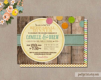 Rustic Rehearsal Dinner Invitations - Rustic BBQ Mixed Type Printable Invitations - Camille Collection