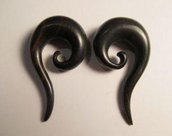 Black Wood Spiraling Tail Earrings