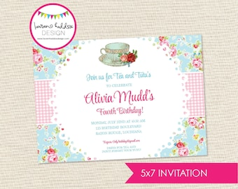 Tea Party Birthday Invitation, Teacups and Tutus Birthday Invitation, Tea Party Printables, Tea Party Decorations, Lauren Haddox Designs