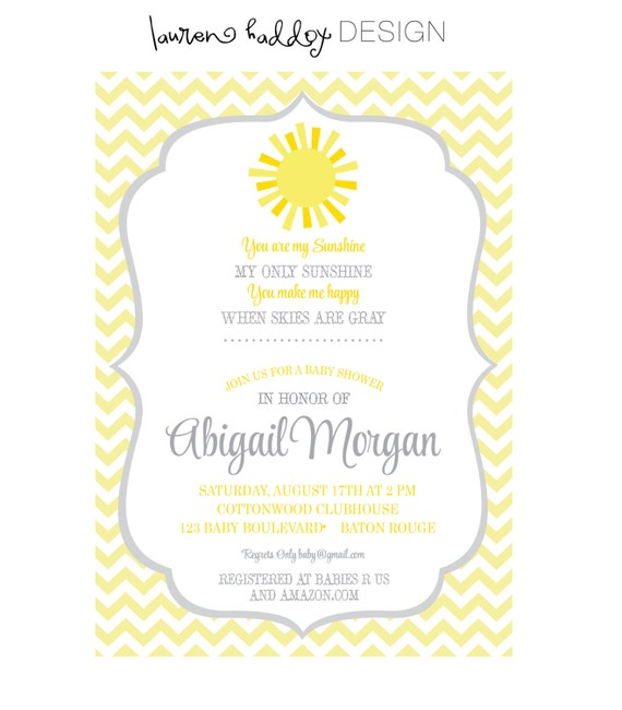 diy you are my sunshine baby shower by laurenhaddoxdesign on etsy