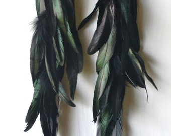 Extra Long Black Feather Earrings, Iridescent Feathers, Real Feather Earrings