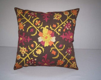 "Beautiful handmade Tadjikistan Lakay pattern flowers suzani embroidered Suzani Pillow Cover original silk 18.5""x18.5"" inch"