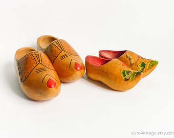 Vintage Wooden Dutch Clogs Hand Painted