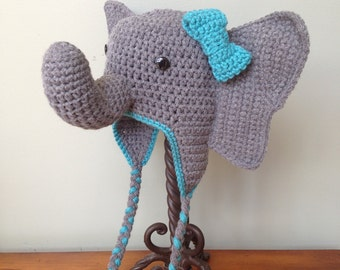 Custom Crochet Elephant Hat with Bow or Tuft, Earflaps, and Braids ((YOU CHOOSE SIZE Newborn-Adult))
