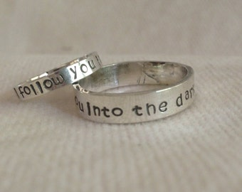 I Will Follow You Into The Dark. Sterling Silver His Hers Ring Set . Reclaimed Silver.Eco Friendly.The Bleu Giraffe on Etsy