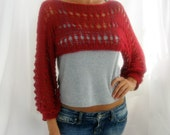 Cotton Summer Cropped  Sweater Shrug in brick red  color, hand knitted, ecofriendly