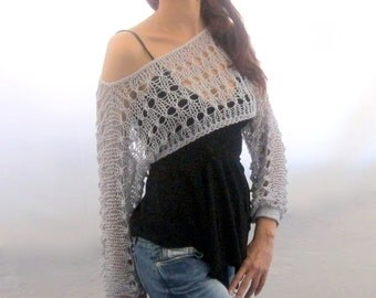 Cotton Summer Cropped  Sweater Shrug in light gray color, hand knitted, ecofriendly
