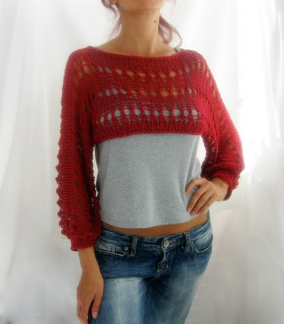 Free Crochet Pattern Cropped Sweater : Cotton Summer Cropped Sweater Shrug in brick red color hand