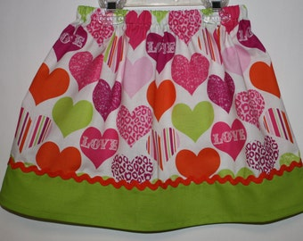 Love Me Skirt  Little Girls Skirt  Size 18 month to Size 7