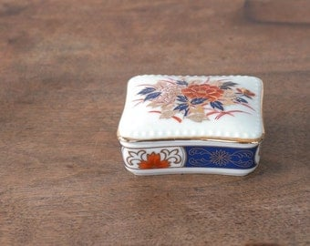 vintage Japanese porcelain trinket box, small, Asian blue red gold Imari style, made in Japan