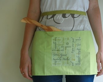 Green Enjoy Your Meal kitchen apron with decoupage detail, waitress style apron, vendor apron