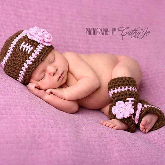 Baby Girl Football Hat With Leg Warmers Newborn By ...