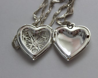 Silver heart recycled anniversary love Valentine wedding locket fashion costume necklace