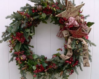 Rustic Chrismas Wreath-Montanta-CHRISTMAS WREATH-Oversize Greenery Holiday Wreath- Large Woodland Wreath-Fireplace Wreath-Xmas-Annie Gray