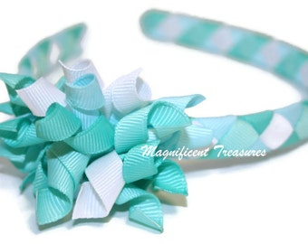 Aqua Woven Headband with Removable Korker Hair Clip