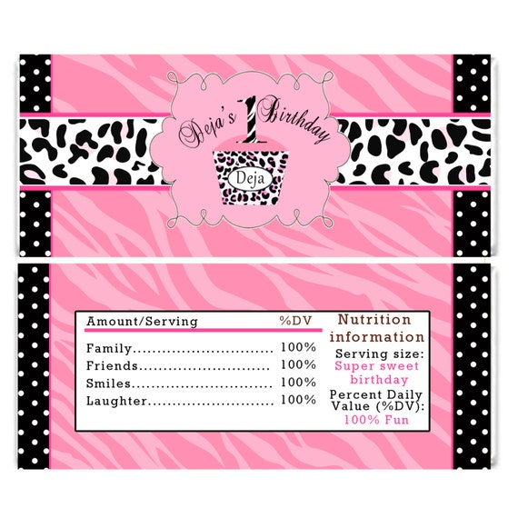 Diva Birthday Candy Bar Wrappers Hot Pink Zebra By Pinkthecat