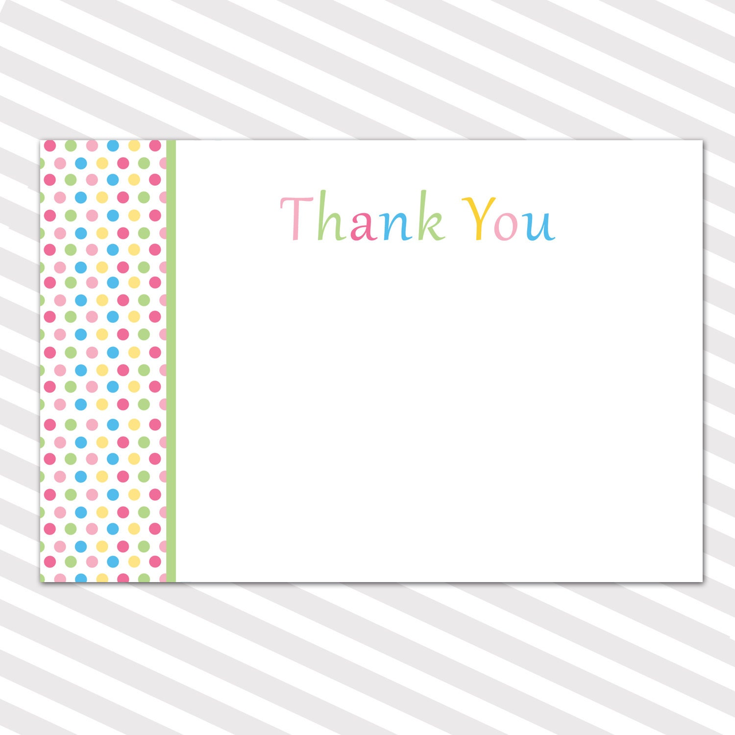 Baby Shower Blank Thank You Cards Note Polka Dots Boy Girl