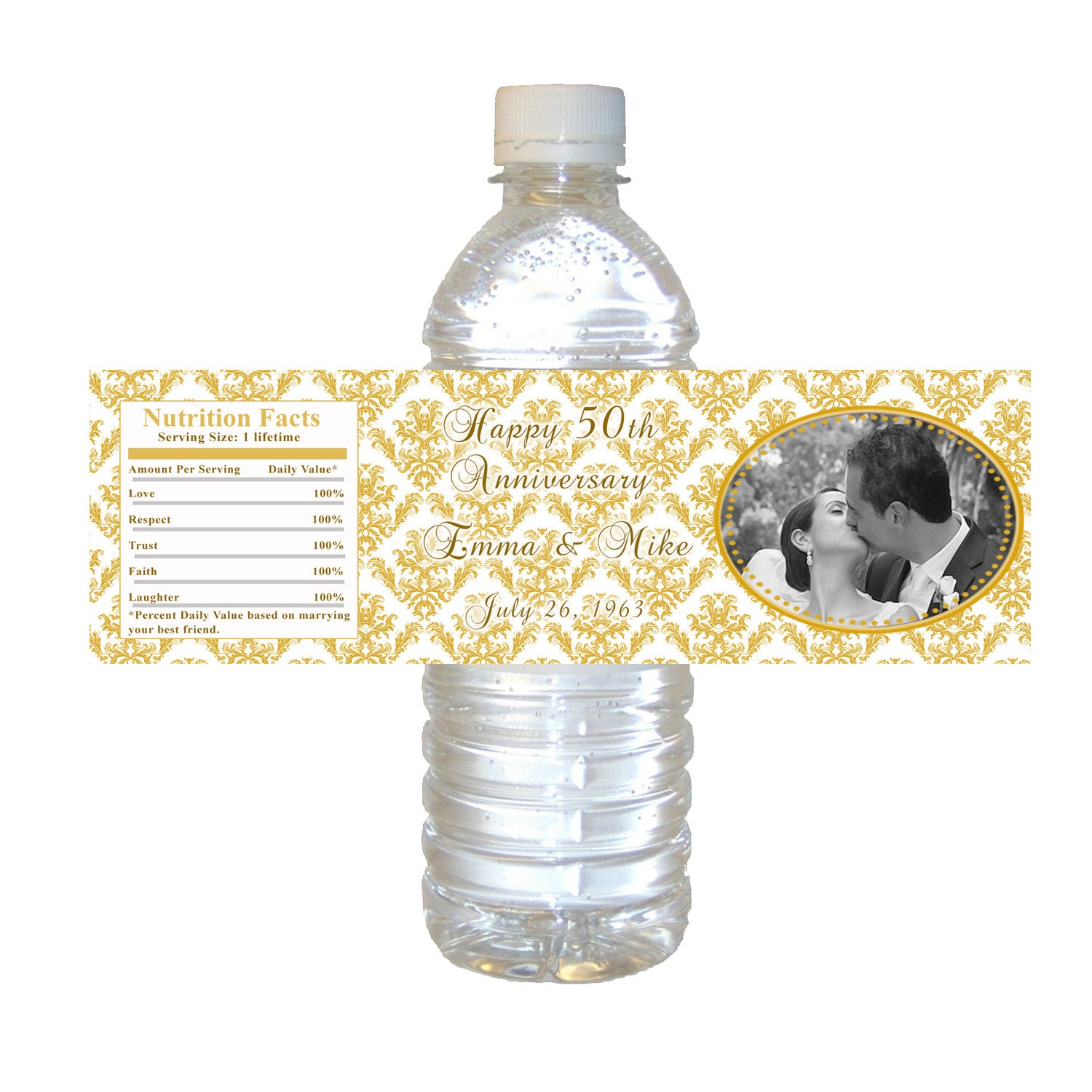 gold damask anniversary water bottle labels 50th wedding With 50th anniversary water bottle labels