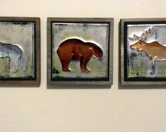 Pop Can Moose Bear Wolf Trio