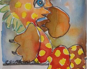 Original Painting, Small Original Watercolor, Animal Painting, Dinosaur Painting, Original Watercolor, Childrens Art, Fantasy Art