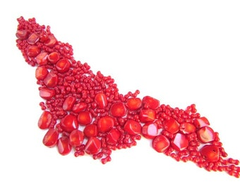 Red Bamboo Coral Beads / Lentil and Rice