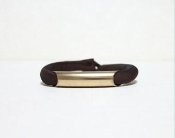 Deep Golden Tube Silk Bracelet(DARK BROWN)