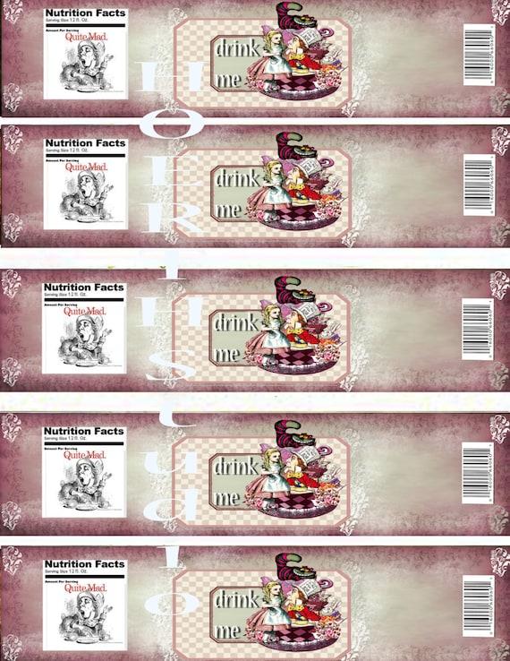 Alice In Wonderland Drink Me Water Bottle Labels Collage Sheet