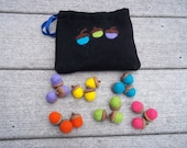 Acorn Sorting Toy 2 Needle Fetled Acorns with Felted Bag Eco Friendly