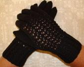 Hand knitted warm soft black women gloves