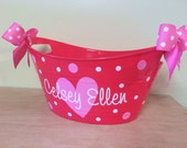 Personalized oval tub - Valentine's day gift basket, name, initial or monogram, heart and polka dots, school card collection box