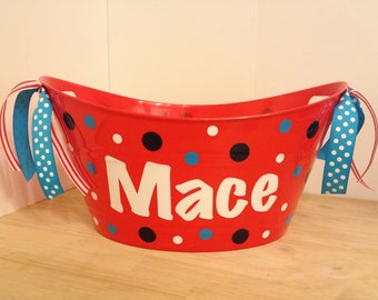 Personalized oval tub - Easter basket, gift basket, name, initial or monogram, polka dots or custom design, baby gift basket