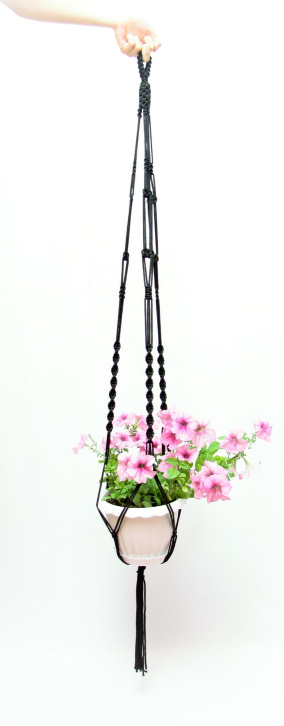 Indoor - Outdoor - 50 inches Black Plant Holder - 5mm - Thick Cord Hanging Planter Great Decor Idea - Сeiling Macrame Plant Hanger
