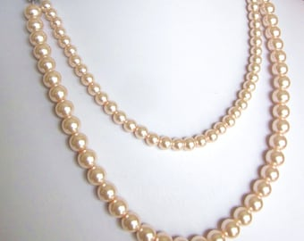 """Double Strand Necklace - Elegant Pearls """"Your Choice of Color"""" -Perfect for Bride, Bridesmaid, Mother of the Bride, Prom or Formal, SRAJD"""