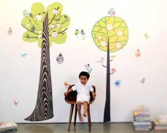 Two Tall Trees Eco-Friendly Reusable Fabric Wall Decals by Pop & Lolli