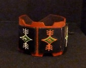 RED RIDER Up Cycled Red Belt Leather with Stitched Design Panels Bracelet Cuff