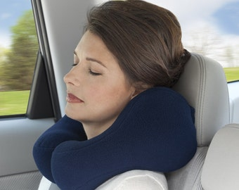 Medium Blue Travel Neck Pillow For Most People With Strong Side Support Fleece Fabirc