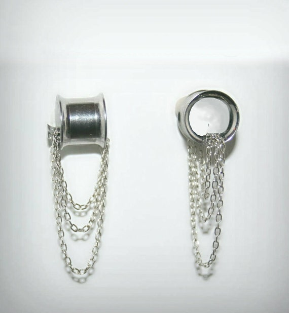 ear plugs dangle gauges silver tunnel tunnel with