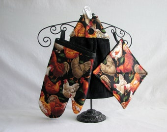 Potholders, Oven Mitts & Towel Set  - Roosters - black.