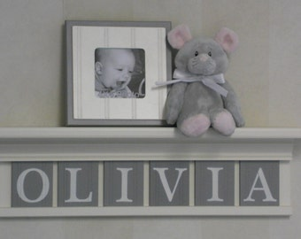 """Personalized Children Nursery Decor 24"""" Linen Off White Shelf with 6 Letter Wooden Plaques Painted Gray - OLIVIA"""